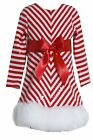 Bonnie Jean Girls Sequins Fur Stripe Holiday Christmas Santa Red Dress 7 - 16