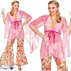Adults Womens 1960s Groovy Hippy Hippie Floral Flares Fancy Dress Outfit Costume