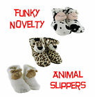 Funky Cosy Cute Novelty Soft Padded Animal Womens Girls Booties Slippers UK 3-8