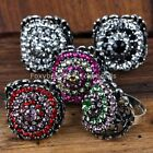 5Pc Mixed Colors Crystal Glass Evil Eye Finger Ring Size us8 Adjustable HOT Gift