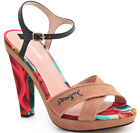 Desigual Tacon Alto 3 Sandals 36-41 RRP�124 Rainbow Target Canvas Tan Leather