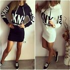 Fashion Women Casual Dress Hooded Hoodies Long Sleeve Letter Print Bodycon Dress