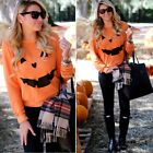 Halloween Womens Pumpkin Print Sweatshirt Long Sleeve Pullover Tops Shirt Blouse