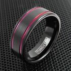 8mm Tungsten Men's Ring Brushed Black with Burgundy Wine Stripes