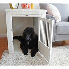 EcoFlex White Dog Crate/ End Table with Stainless Steel Spindles