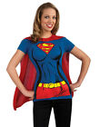 Supergirl Super Hero T-shirt & Cape Adult Womens Halloween Costume Set  S-XL