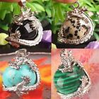 Retro Silver Natural Crystal Hexagonal Gemstone Dragon Pendant Necklace Jewelry