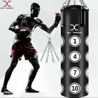 MAXSTRENGTH 5ft/6ft Maya Leather Punch Bag Kick Boxing Gym Fight Training MMA