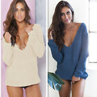 New Women Deep V-Neck Long Sleeve Knitted Sweaters Tops Casual Jumper Pullovers