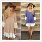 Fashion Women Ladies Long Sleeve Shirt Casual Lace Blouse Loose Tops T-Shirt