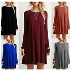 Women's Casual Plain Long Sleeve Round Neck Tunic T-Shirt Loose Dress