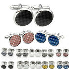 6pcs/Set Silver Steel Enamel Men's Shirt Black Carbon Fiber Cuff Links Stud Gift