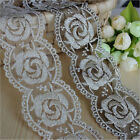 1/3/5 Yards Gold Rose Flower Embroidered Tulle Mesh Lace Edge Trim Sewing DIY