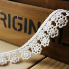 1/3/5 Yards Cotton Embroidered Flower Edge Lace Trim Sewing Applique Craft DIY