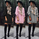 UK Womens Blouse Cotton Long Sleeve Ladies T Shirt Casual Loose Short Dress Tops