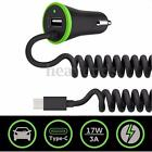 5V 3.4A USB Car Power Charger & USB 3.1 Type C Coiled Spring Cable For Phone Tab