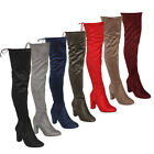 Beston DE01 Women's Block Heel Drawstring Over The Knee Thigh High Stretchy Boot