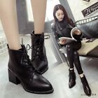 High Top Women Pointy Toe Med Block Heels Ankle Boots Lace Up Shoes Sexy Fashion