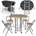 Extending Space Saving Dining Table And 4 Chairs Kitchen Foldable Drop Leaf Set