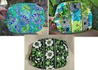 VERA BRADLEY Large Cosmetic Bag Makeup College Emerald Paisley Lucky Limes Green