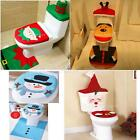 Set of Soft Toilet Seat Cover Tank Cover Bathroom Mat Rug for Christmas Decor