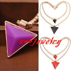 Chic Golden Box Chain Geometric Double Layers Triangle Pendant Necklace Choker