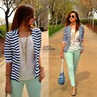 Ladies Womens Blue & White Striped Cropped Waterfall Coat Casual Jacket JTOO