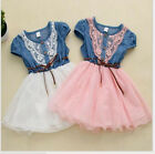 New Casual Baby Kid Girls Short Sleeve Lace Floral Flower Denim Dress 3-8Y