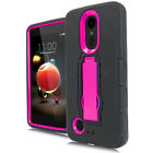 For LG Tribute Dynasty Impact Hard Rubber Kickstand Case Cover + Screen Guard