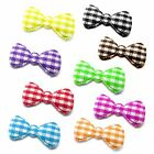 "(50-100pcs) x 7/8"" Padded Gingham Cotton Bow Appliques for Trim/Bows/Scrapbook"