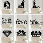 Cake Toppers Wedding Party Anniversary Birthday Favour Black Acrylic Decoration