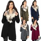 Womens Fur Collar Belt Long Knitted Cardigan Duster Coat Sweater Blazer Cover Up
