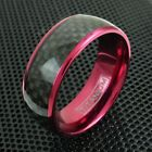 8mm Wine Red Titanium Men's Ring Black Carbon Fiber Wedding Band Jewelry