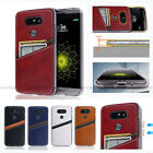 Anti-Shock Leather Wallet Back Case Cover Transparent For LG G3 G4 G5 V10 V20