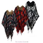 LADIES WOMENS CHECKED KNITTED WINTER TARTAN FUR NECKLINE CAPE PONCHO ONE SIZE