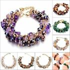 Natural Amethyst Agate Citrine Malachite Crystal Bead Gold Link Chain Bracelet