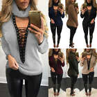 Women's Long Sleeve V Neck Chocker Ribbed Knit Sweater Jumper Lace-up Tops Shirt