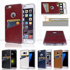 For iPhone Galaxy LG Leather Wallet Back Transparent Case Cover Shock protection
