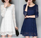 Winter warm thicken Lace Long Sleeve dress Party Dress cocktail dress plus size