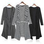 Women Full Long Sleeve Drape Collar Maxi Cardigan Light-Weight Open Shirt Dress