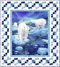 Northern Lights POLAR BEARS QUILT KIT Arctic Ocean Ice Fabric - Pattern Included