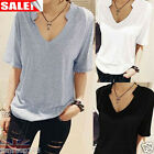 Summer Women's T-shirt Short Sleeve Cotton Loose Tees Pullover Tops Blouse New