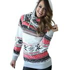 Women Hoodie Sweatshirt Jumper Floral Print crop top Coat Sports Pullover N4U8