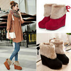 Women Fur Warm Snow Boots Winter High Wedge Platform Heels Ankle Booties Bowknot