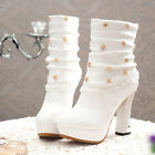 New Fashion Women's Block High Heesl Rivet Sexy Ankle Boots Suede Platform Shoes