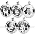 1pc Fine Hollow Stainless Steel Christmas Openable Locket Pendant Xmas Gift