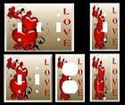 RED HEARTS AND ROSES LOVE LIGHT SWITCH COVER PLATE