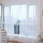 1pc White Voile Sheer Curtain Panel Scarf Curtains Sets Extra Wide Long