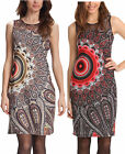 Desigual Maxins Dress S-XL 10-16 RRP£99 Psychedelic Print Shift Fitted Brown Red