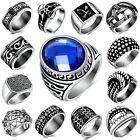 Men's Fashion Stainless Steel Personality Retro Punk Silver Rings Accessories